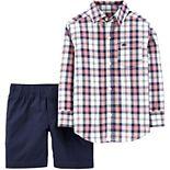 Baby Boy Carter's 2-Piece Plaid Button-Front Top & Poplin Short Set