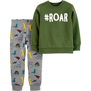 Baby Boy Carter's 2-Piece Dinosaur Fleece Top & Jogger Set