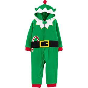 Toddler Boy Carter's 1-Piece Elf Suit Hooded Fleece Footless PJs