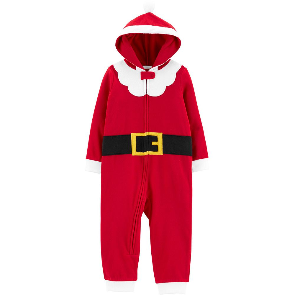 Toddler Boy Carter's 1-Piece Santa Suit Hooded Fleece Footless PJs
