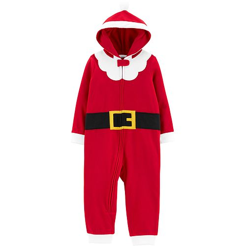 Toddler Boy Carter's 1-Piece Santa Suit Hooded Fleece Footless PJs