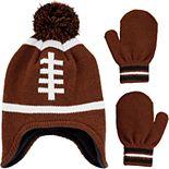 Baby Boy Carter's Football Hat & Mittens Set