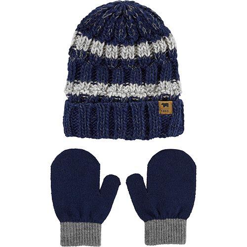 Baby Boy Carter's Striped Hat & Mittens Set