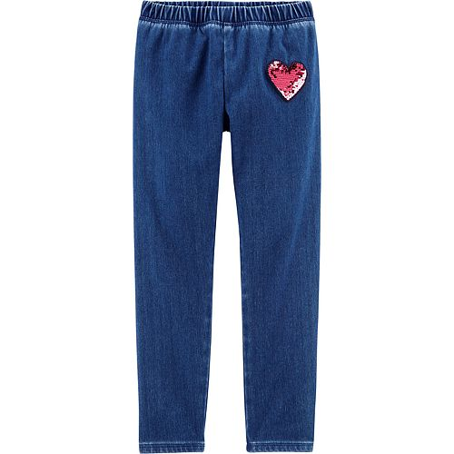 Girls 4-12 OshKosh B'gosh® Flip Sequin Heart Patch Jeggings