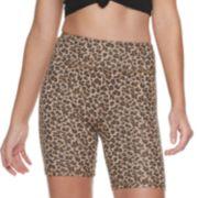 Juniors' SO® Leopard Long Bike Shorts