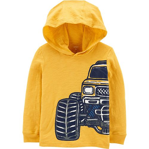 Baby Boy Carter's Monster Truck Hooded Slub Jersey Sweatshirt