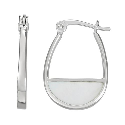 Harper Stone Oval Hoop Earrings