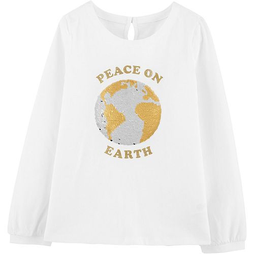 "Girls 4-14 OshKosh B'gosh® ""Peace on Earth"" Flip & Reveal Sequined Tee"