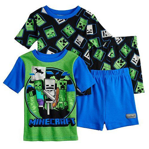 Boys 6-12 Minecraft 4-Piece Pajama Set