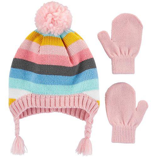 Toddler Girl Carter's Striped Hat & Mittens Set