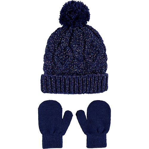 Toddler Carter's Glitter Cable Knit Hat & Mittens Set
