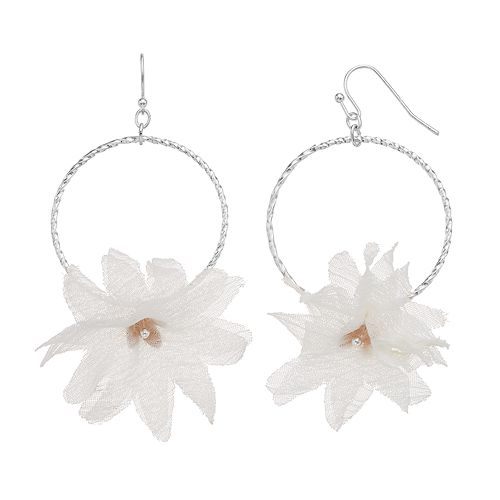 LC Lauren Conrad Flower Drop Hoop Earrings