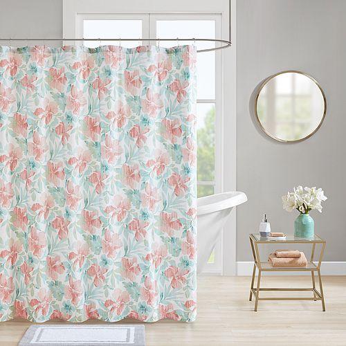 Madison Park Flora Seersucker Shower Curtain