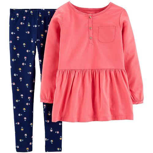 Girls 4-8 Carter's Button-Front Sateen Top & Floral Legging Set
