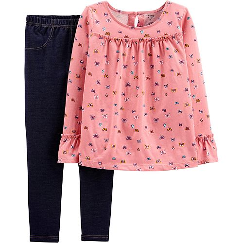 Girls 4-8 Carter's Butterfly Ruffle Top & Knit Denim Legging Set