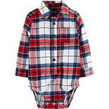Baby Boy OshKosh B'gosh® Flannel Button-Front Bodysuit