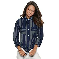a6c7750921b Juniors Blue Button-Down Shirts Shirts   Blouses - Tops