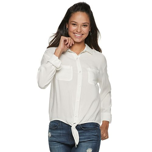 Juniors' So® Button Up Long Sleeve Shirt by Juniors' So