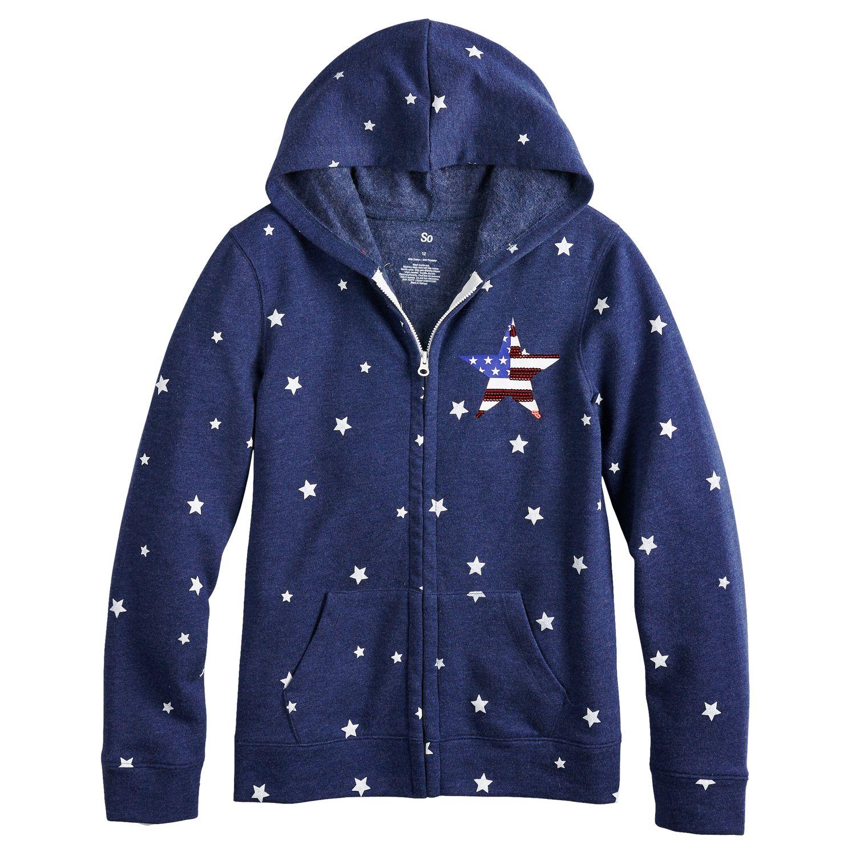 girls blue kids long sleeve tops, clothing kohl\u0027sgirls 7 16 so® french terry hoodie