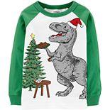 Baby Boy Carter's Christmas T-Rex Raglan Tee