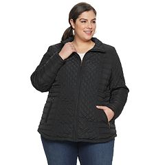 Plus Size Gallery Zip-Front Quilted Jacket