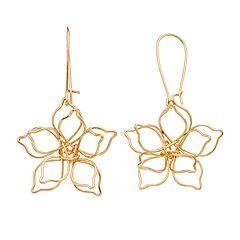 LC Lauren Conrad Gold Tone Open-Work Flower Drop Earrings