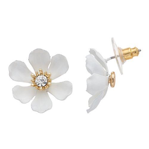 LC Lauren Conrad Nickel Free White Flower Stud Earrings