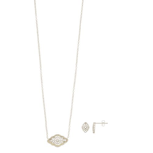 Brilliance Filigree Necklace & Earring Set with Swarovski Crystals