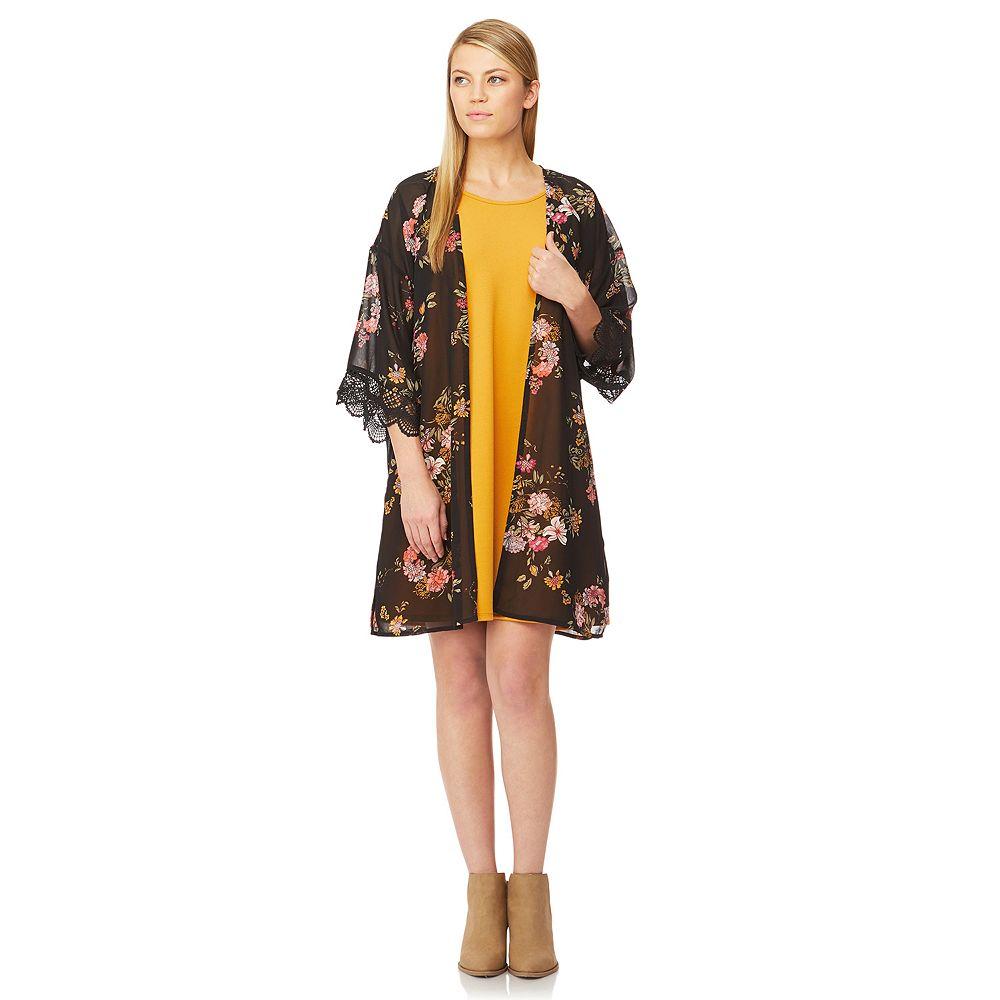Juniors' WallFlower Solid Swing Dress & Printed Kimono Set