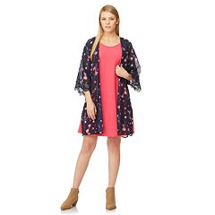 729f5044854 Juniors  WallFlower Solid Swing Dress   Printed Kimono Set