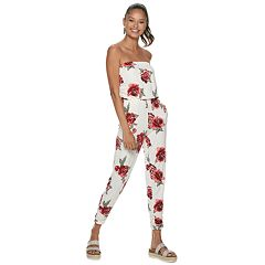 Juniors' Almost Famous Strapless Side Ruched Jumpsuit