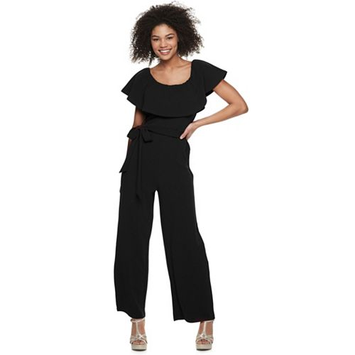 Juniors' Almost Famous Ruffled Flounce Cropped Jumpsuit
