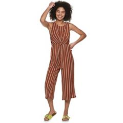 Juniors' Almost Famous Tie Front Sleeveless Jumpsuit