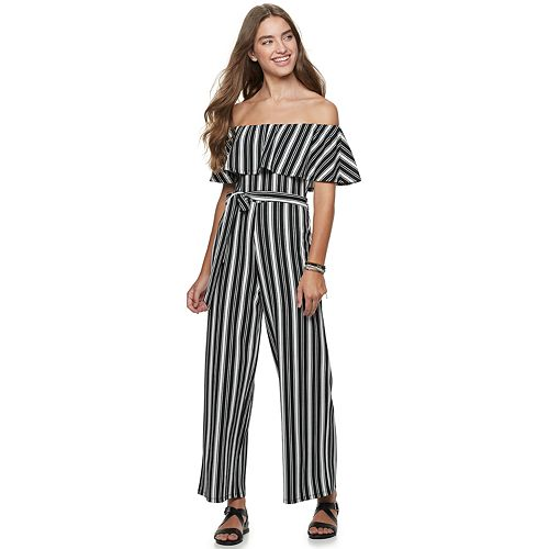 Juniors' Ruffled Flounce Cropped Almost Famous Jumpsuit