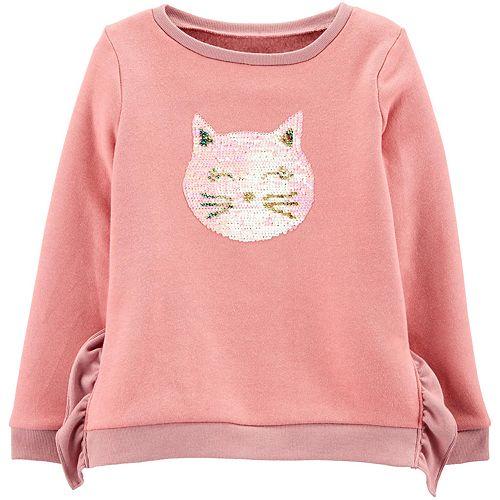 Girls 4-12 Carter's Glitter Flip Sequin Cat Fleece Sweatshirt