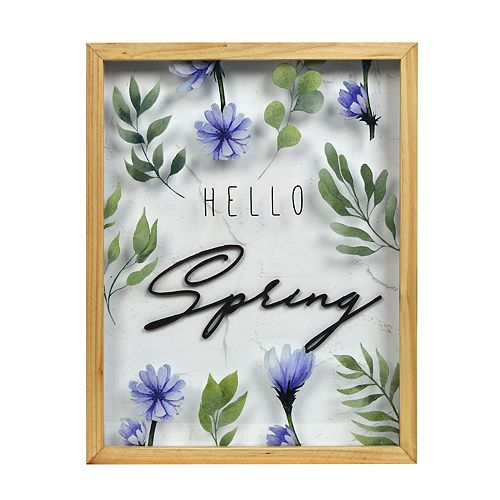 """New View Gifts """"Hello Spring"""" Shadowbox Wall Art"""