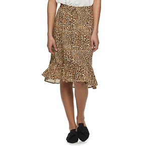 Juniors' Joe B Ruffled Hem Midi Skirt