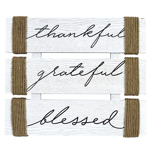 """New View """"Grateful, Thankful Blessed"""" Message Wall Plaque"""