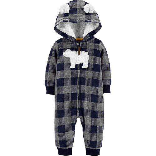 Baby Boy Carter's Hooded Polar Bear Fleece Coverall