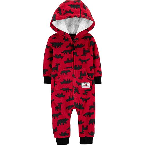 Baby Boy Carter's Hooded Woodland Creatures Fleece Coverall