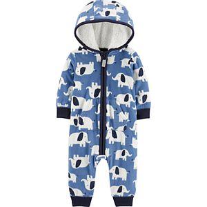 Baby Boy Carter's Elephant Hooded Fleece Coverall