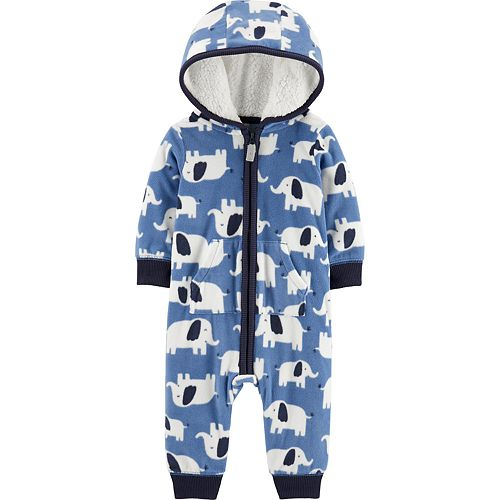 Baby Boy Carter's Elephant Hooded Fleece Coverall