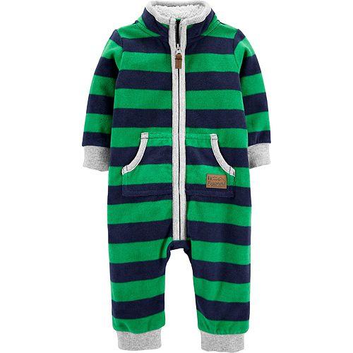 Baby Boy Carter's Zip-Up Striped Fleece Coverall