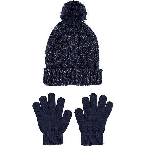 Girls 4-14 Carter's 2-Piece Glitter Cable Knit Hat & Glove Set
