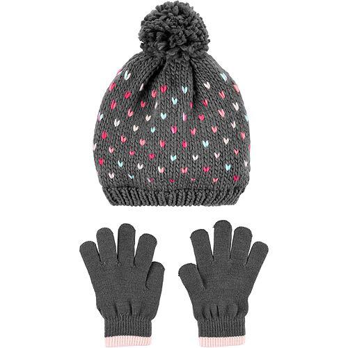 Girls 4-14 Carter's Heart Hat & Glove Set