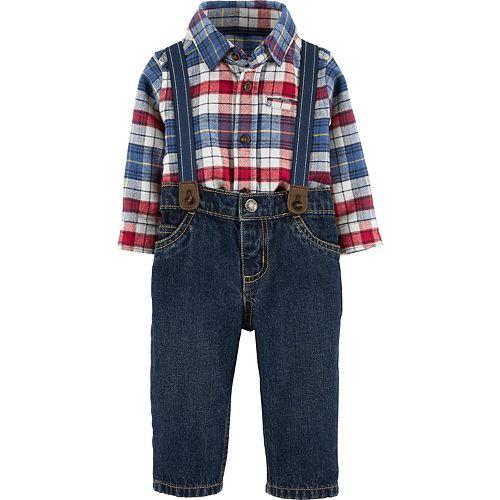 Baby Boy Carter's Red Blue Plaid Dressy Suspender Set