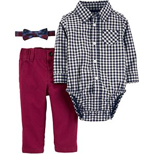 Baby Boy Carter's Gingham Red Pant Bow Tie Set
