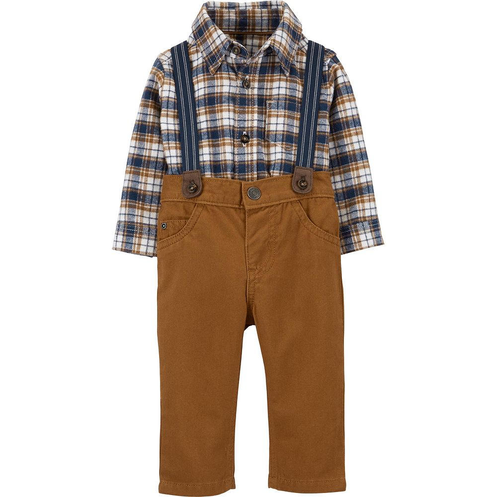 Baby Boy Carter's Brown Plaid Dressy Suspender Set