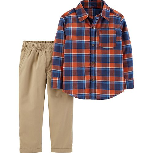 Baby Boy Carter's 2-Piece Plaid Button-Front Top & Khaki Pants Set