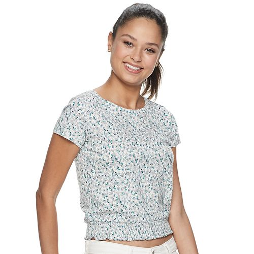 Juniors' SO® Smocked Bottom Tee